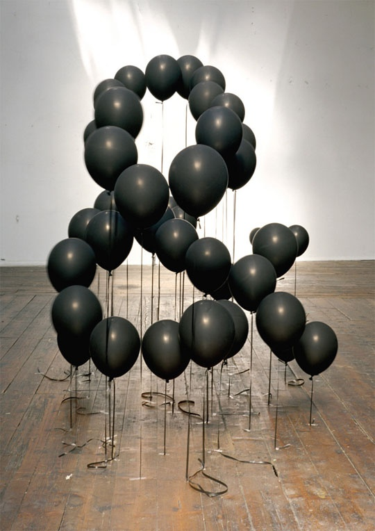black balloons - shape making...like this idea, could do anything your heart desires.