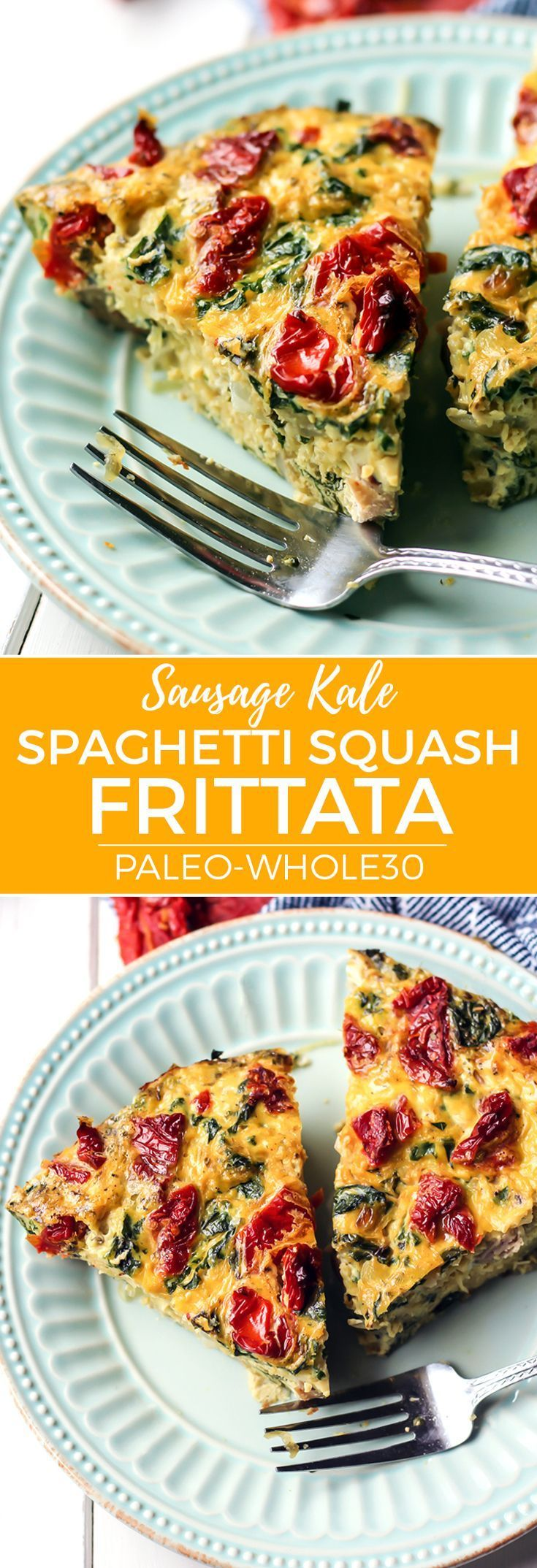 The perfect breakfast brunch frittata to add to your menu. Spaghetti squash adds some complex carbs to this filling and hearty meal. Gluten-free, Paleo and Whole30! All clean eating ingredients are used for this healthy breakfast recipe. Pin this healthy frittata to make during meal prep later!