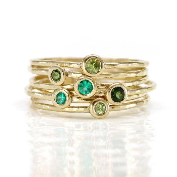 Emerald Ring, Peridot Ring, Green Tourmaline Ring, 14k Gold Stackable Rings Birthstone Rings, Set of 6