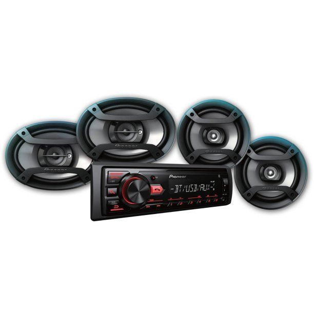 Pioneer Bluetooth Car Stereo Receiver Bundle with Two 6.5 Speakers Two 6 x 9