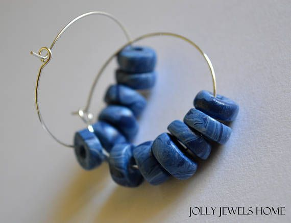 Blue hoop earrings Gipsy earrings Blue summer jewelry