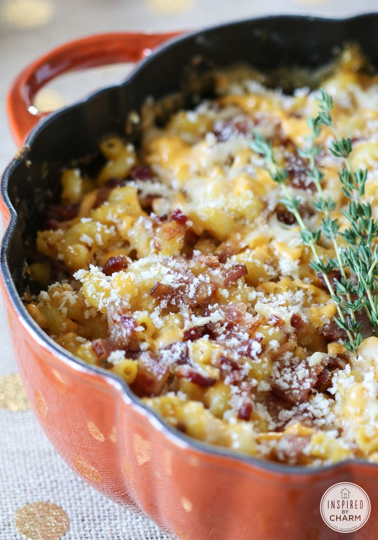 Pumpkin Mac and Cheese with Bacon | Hearty enough to act as a main dish baked pasta recipe, but just as well suited as a decadent side dish.