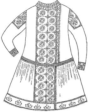 """Kaftan Polovtsian Khan, discovered in a burial mound at Chingulskim (Zaporizhia region)..  """"Izvestia"""", 13 March 1987 Pletnev SA Cumans - Also see https://www.academia.edu/1868293/Foreign_Vesture_and_Nomadic_Identity_on_the_Black_Sea_Littoral_in_the_Early_Thirteenth_Century_Costume_from_the_Chungul_Kurgan"""