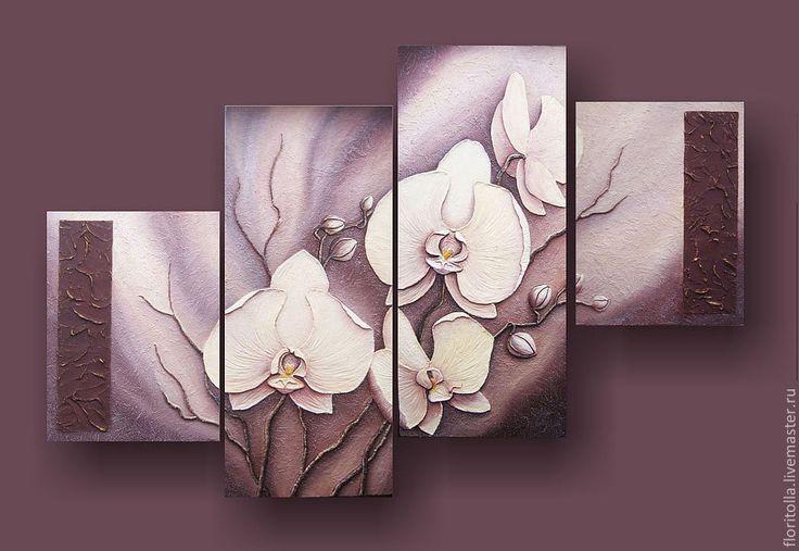 """""""Белые орхидеи"""" - автор - Флоритолла. Согласно древнегреческой легенде белая орхидея, когда богиня любви Афродита выходила из морской пены. Несколько хлопьев пены упали на землю, и в этом месте проросло растение с трубочкой вместо цветка. От растения исходил очень нежный аромат, который привлек двух белых бабочек. Они сели на трубочку цветка и не смогли его покинуть...  На Востоке белая орхидея - это символ чистой любви, возрождения, весны и плодородия."""