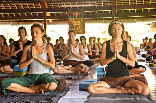 Yoga classes for the experienced and beginner level were available in the Indonesia Spirit Festival. Photos by Raditya M...