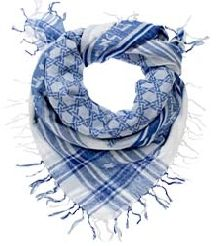 "A Keffiyeh is a traditional Middle Eastern headdress fashioned from a square, usually cotton, scarf. These Israelite Keffiyehs are scarves accentuated by a Star of David pattern in the center, with ""Am Yisrael Chai"", ""The People of Israel Live"", in Hebrew lettering on all four sides of the scarf. CHOOSE:  Blue, Black, or Green."