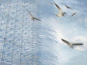 """Utilizzando la tecnologia piezoelettrica, un numero infinito di peli possono produrre energia elettrica anche soltanto attraverso piccoli movimenti generati dalla forza del vento; è sufficiente infatti anche solo una leggera brezza, proveniente da qualunque direzione per attivare il meccanismo di questo particolare impianto eolico. Questi """"peli"""" donano una certa dinamicità alle facciate del grattacielo, creando uno skyline sempre diverso."""