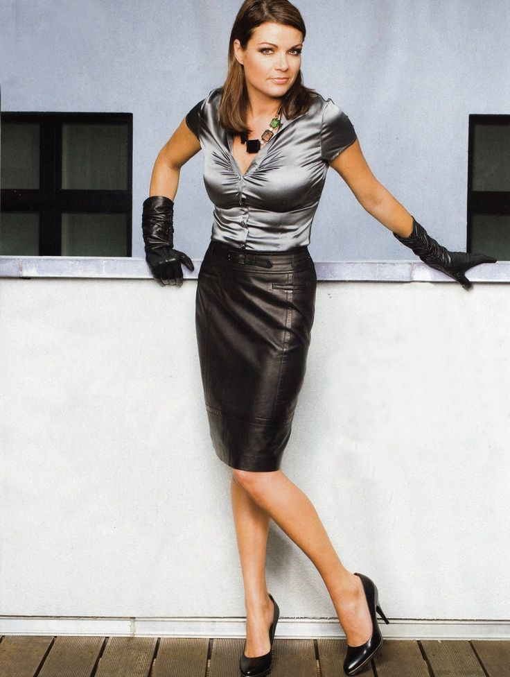 Black Leather Pencil Skirt Gray Satin Blouse Black Leather Gloves ...