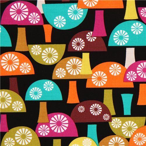 black mushroom fabric Michael Miller from the USA #Toadstools