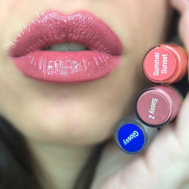 Sassy Z & Summer time season Sundown LipSense, Blended 1:1, Shiny Gloss  Impartial LipSe…