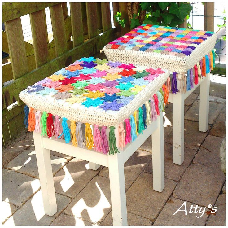 atty's: Crochet Flower Stool Cover