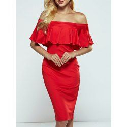 SHARE & Get it FREE | Off-The-Shoulder Overlay Flounce Bodycon DressFor…