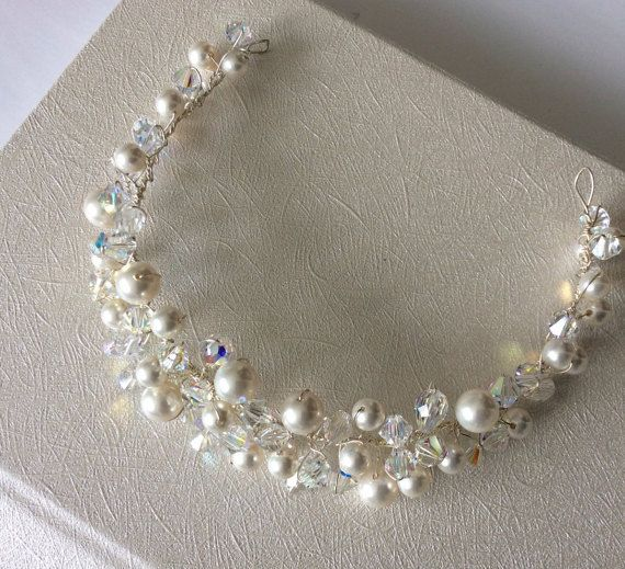 Bridal Tiara Bridal Hair Jewelry Wedding by glamourbysonja on Etsy