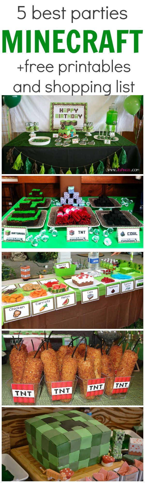 5 Best Minecraft Parties + free printables and a shopping list!