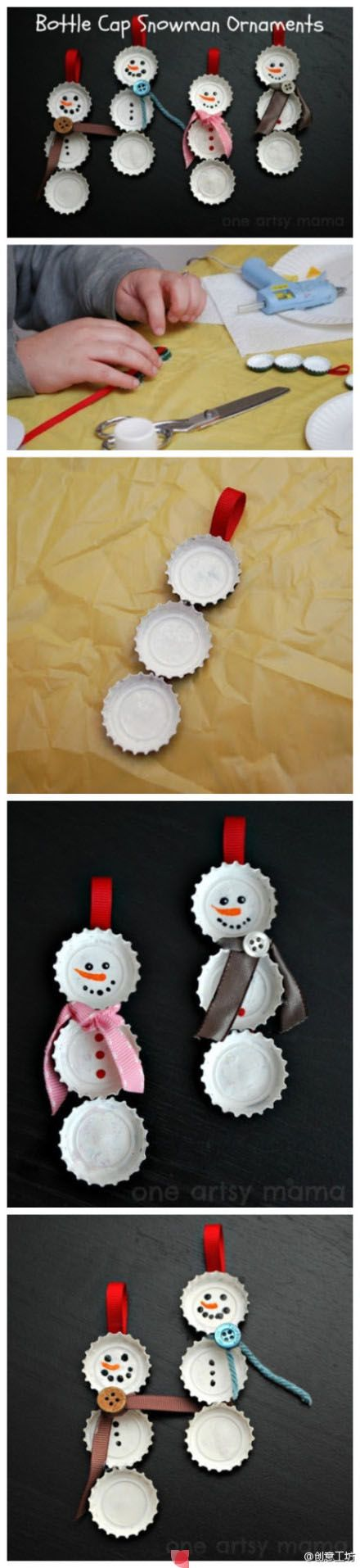 How to make bottle cap snowmen recipe crafts teaching for How to make bottle cap crafts