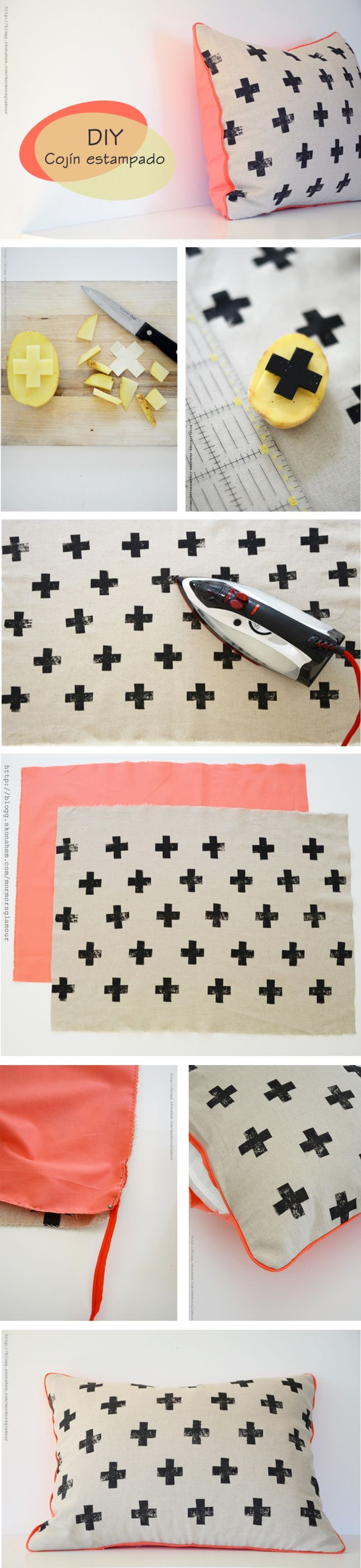 DIY potato stamp pillow.