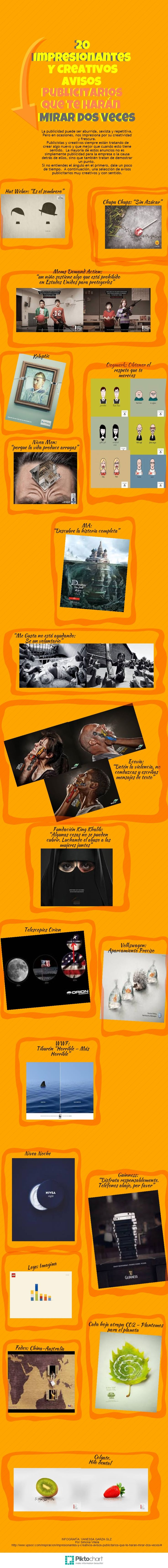 20 Impresionantes Y Creativos Avisos Publicitarios Que Te Harán Mirar Dos Veces | @Piktochart Infographic