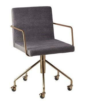 This beauty would dress up any boring desk and works well with any kind of style. Enjoy the rolling and swiveling capabilities and brushed brass accents.