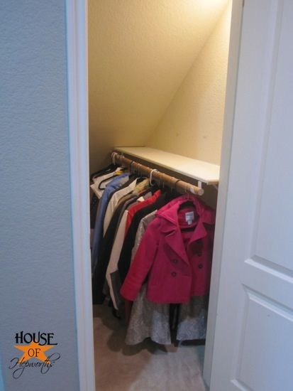 Idea for under the stairs closet at the Richmonds. This would allow the back of the closet to still be used.