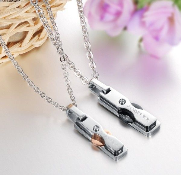 $26,17 Exclusive pair stainless steel pendant + necklace pairing for lovers. BEST PRICE: Directly in the jewelry factory. VAT-free shopping: Available, partners based in the European Union, only applies to EU tax identification number (UID). Exclusive design pairing stainless steel pendant & necklaces for couples and lovers.