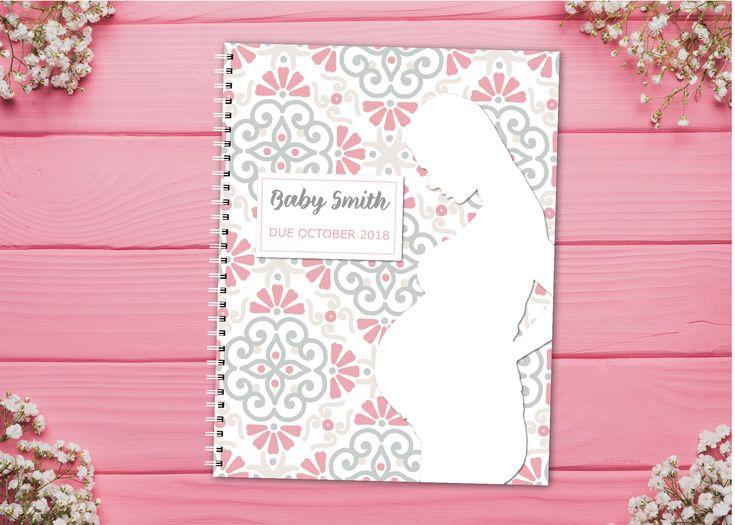Journal de grossesse personnalisé avec pages planifiées – Rose et Gris – Motif – Enceinte …  – Pregnancy Journals