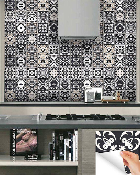 Black And White Design 24 Tile Stickers Mexican Talavera