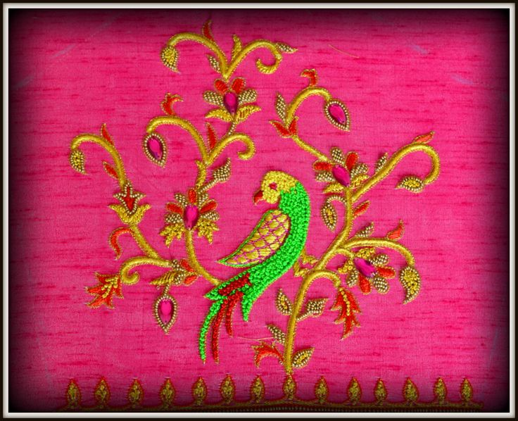 Hand embroidery parrot designs by angalakruthi