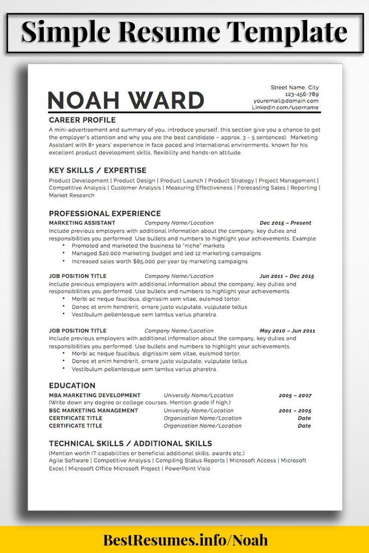 One Page Resume Template Noah Ward Bestresumes Info Job Resume Template Simple Resume Template One Page Resume Template