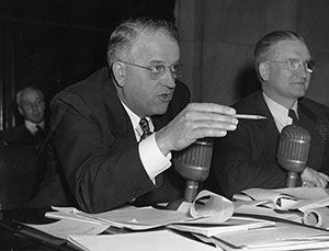 Senators Kenneth Wherry (pictured at left) and J. Lister Hill conducted the first congressional investigation into homosexuality in teh federal workforce. (U.S. Senate Historical Office)