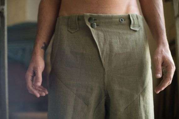 Designer's comfortable trousers  by HapticPath  Button fly | belt loop | eco-friendly hemp fabric | under knee length