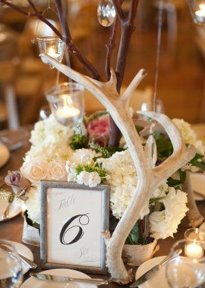 Antler Centerpiece....I fricken LOVE THIS....might have to tie this in somehow too.....maybe some sheds on the cake table or something?