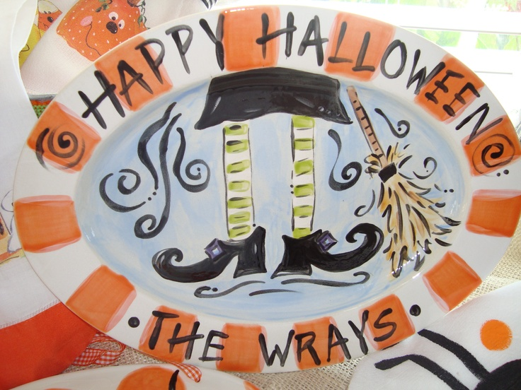 handpainted oval halloween platter - Halloween Ceramic Plates