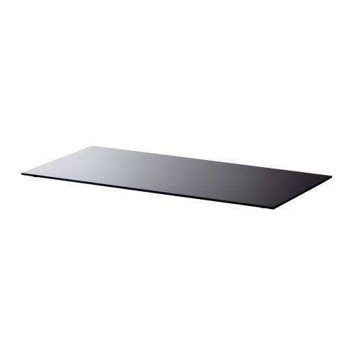 IKEA - GLASHOLM, Table top, glass/black, , The table top in tempered glass is stain resistant and easy to clean.