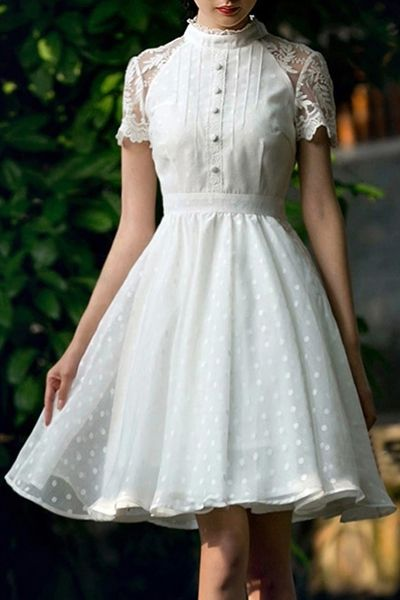 Polka Dot Short Sleeve Flare Dress