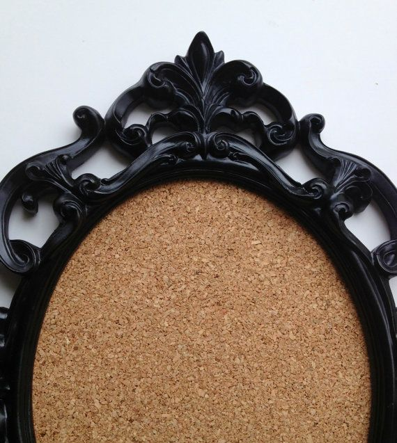 Baroque oval frame cork board burlap chalkboard mirror jewelry holder tree any color shabby chic wedding Hollywood regency memo board . $55,00, via Etsy.