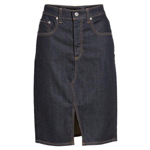 AG Emery High Waist Denim Skirt ($113) ❤ liked on Polyvore featuring skirts, high waisted denim skirt, high-waisted skirt, ag adriano goldschmied, high waisted skirt and zip skirt