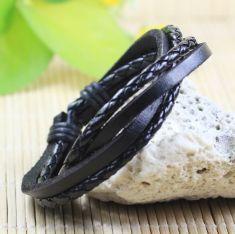 Bratara piele neagra cu fire textile negre
