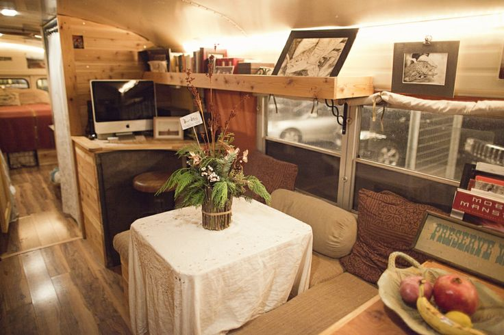 desk space in a skoolie bus