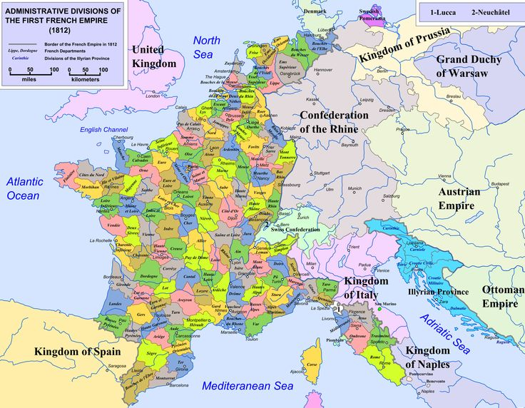 Map of the administrative divisions of the first French Empire, 1812. (source: http://en.wikipedia.org/wiki/File:France_L-2_(1812)-en.svg)
