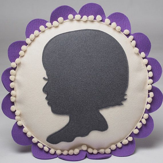 For Mother's Day!!  Custom Little Girl Silhouette Pillow in any color combination by Cheeky Monkey Home