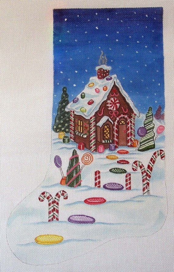 Handpainted Gingerbread House Stocking Needlepoint by colors1