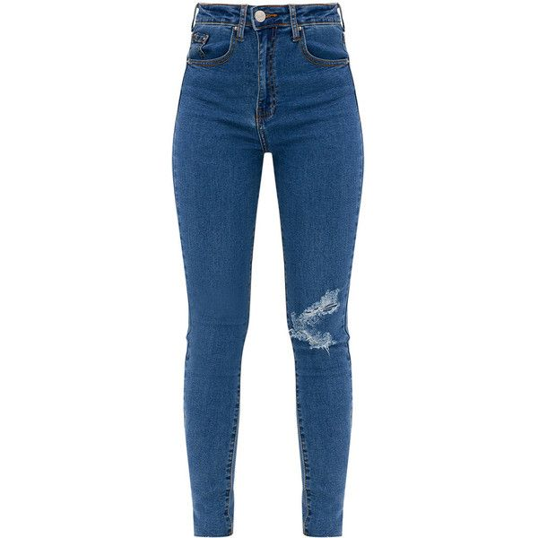 711ef924ad788 Dark Wash Distressed Knee High Waisted Skinny Jean ( 38) ❤ liked on  Polyvore featuring jeans