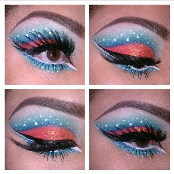 Adorably fun tropical fish inspired look by makeupholicliz using Sugarpill eyeshadows. Pretty color combo!