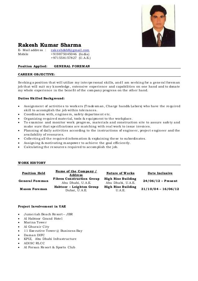 Image Result For Indian Foreman Cv Examples Resume Examples