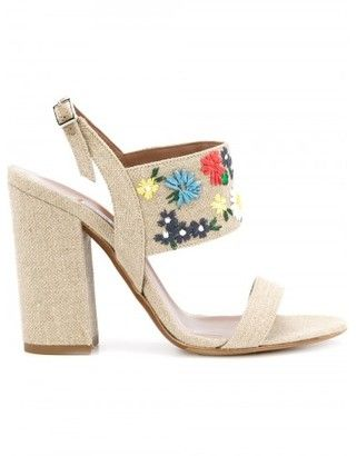 Tabitha Simmons embroidered flower sandals