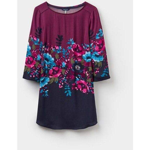 Felicia French Navy Plum Camellia Border Printed Woven Tunic | Joules... (5.740 RUB) ❤ liked on Polyvore featuring tops, tunics, navy blue top, navy top, navy tunic, woven top and joules tops