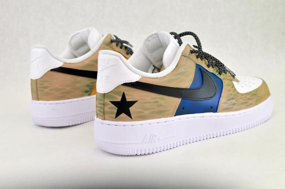 54015a1fd112 US Military Custom Hand Painted Nike Air Force 1 Sneakers - Army   Marines  Theme