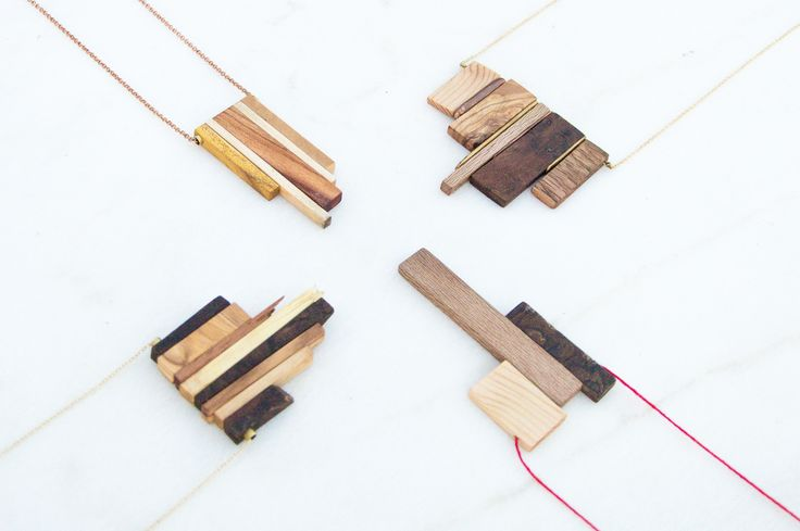 Handmade Pendants from different woods, brass and copper by giodim