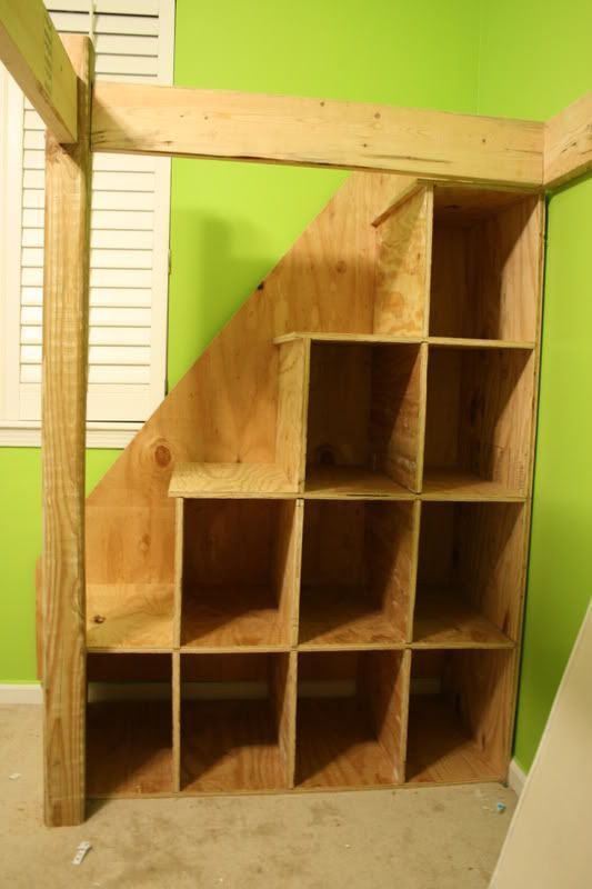 stairs to loft bed with built in storage!