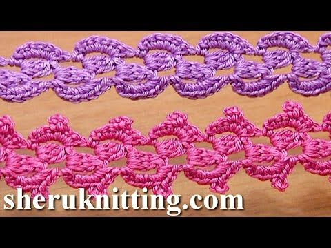 Get the more patterns at http://sheruknitting.com/ Here double crochet, crochet lace, crochet lace pattern, crochet ribbon, crochet tape, crochet braid, how ...